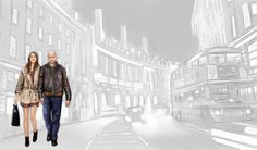 Walking in London (book illustration)