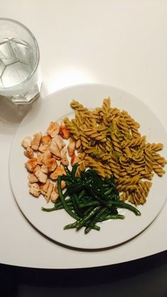 Chicken, beans, and pasta with pesto.