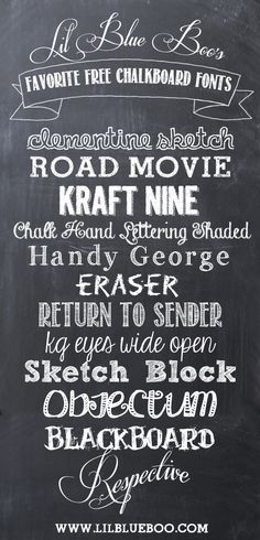 Lil Blue Boo's Favorite Free Chalkboard Fonts and Free Chalkboard Paper Download via lilblueboo.com