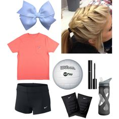 Take away the bow, change the shirt to a tournament t-shirt and no mascara,  Then you'll have volleyball practice