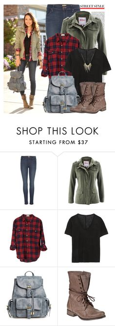 """Street Style: Military Jacket"" by prettyorchid22 ❤ liked on Polyvore featuring Mother, The Row, Steve Madden and SELECTED"