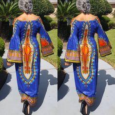 Cool Great Royal Blue African Dashiki Print Kimono Sleeve Maxi Dress 2017 2018