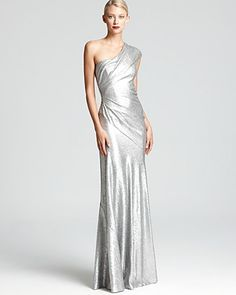 David Meister One Shoulder Dress Metallic Sequin Lace