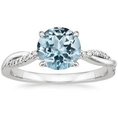 18K White Gold Aquamarine Petite Twisted Vine Diamond Ring (3 165 BGN) ❤ liked on Polyvore featuring jewelry, rings, diamond rings, white gold twist ring, 18k diamond ring, diamond jewelry and diamond ribbon ring