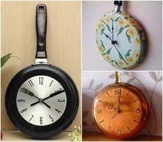 Dar vida nova a velhos utensílios de cozinha - transformar frigideiras em relógios