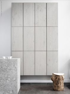 A wonderful wall of monochromatic IVAR cabinets by Pella Hedeby for Livet Hemma in a pale grey stained wash. via Poppytalk ivar 9 New Gorgeous IKEA Hacks to Try Ikea Wall Cabinets, Ikea Ivar Cabinet, China Cabinets, Ikea Inspiration, Ikea Design, Diy Design, Interior Design, Ikea Furniture, Furniture Design