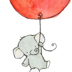 cute and simple traceable nursery art idea - elephant holding onto a colored balloon.
