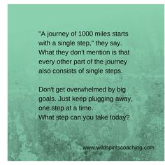 Just take one step per day.  -From www.wildspiritscoaching.com