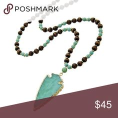 """Green Stone Western Theme Necklace Gold Tone / Lt.green Stone / Brown Wood / Lead&nickel Compliant / Western Theme / Arrowhead Pendant / Long Necklace •   LENGTH : 29"""" + EXT •   PENDANT : 1 1/4"""" X 2 1/2""""  •   GOLD/MINT ( Does Not Come With Earrings ) R.E.A.L Jewelry Jewelry Necklaces"""