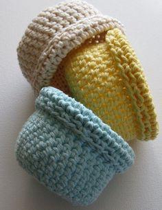 Easter Basket  3  crochet  handmade   Easter colors  by NykkiMakes, $12.00