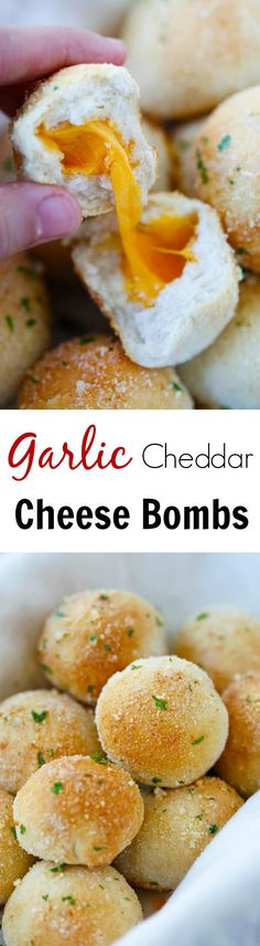 Garlic Cheddar Cheese Bombs - amazing cheese bomb biscuits loaded with Cheddar cheese and topped with Parmesan cheese. Easy recipe that takes 20 mins. I Love Food, Good Food, Yummy Food, Cheese Bombs, Great Recipes, Favorite Recipes, Snacks Saludables, Tapas, Appetizer Recipes