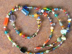 Long glass confetti necklace by juRnE on Etsy, $25.00