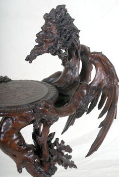 Italian Fantasy Furniture Griffin Carved Pedestal