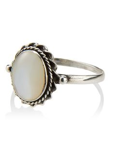 Sterling Silver Mother Of Pearl Oval Ring | White | Accessorize