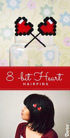 Valentine's Day Accessories: 8-bit Heart DIY Bobby Pins