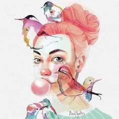 How beautiful and delicate is this watercolour by @anasantos_illustration #beautifulbizarre #beautifulbizarremagazine #artmagazine #indiemagazine #newcontemporaryart #contemporaryart #art #watercolour #watercolor #birds #bubblegum #redhair #painting