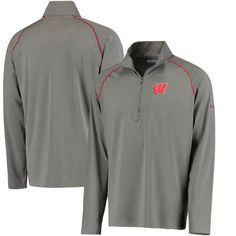 Fanatics.com: Wisconsin Badgers Columbia Collegiate Tuk Mountain Half-Zip Long Sleeve T-Shirt - Gray