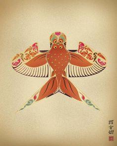 Antique Vintage Chinese Kite Green Dragon Art Handpainted