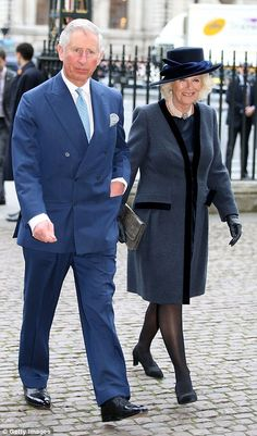 On their way in: Prince Charles and the Duchess of Cornwall arrive for the service...