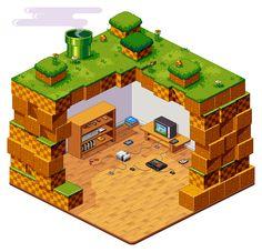 underground video game room http://pixelartus.com/post/89560852659/pixel-art-masterpieces-underground-video-game-room