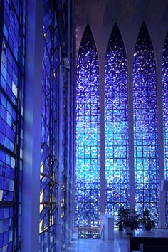 The Santuario Dom Bosco honors the Italian saint who dreamed of a utopian city in Brasilia, the modern capital city of Brazil, is inspired by this dream. by Blue Lily Photo Beautiful World, Beautiful Places, House Beautiful, Cathedral Church, Chapelle, Oscar Niemeyer, Place Of Worship, Beautiful Buildings, Stained Glass Windows