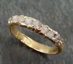 Raw Rough Uncut Diamond Wedding Band 14k Gold Wedding Ring byAngeline 0279 #golddiamond