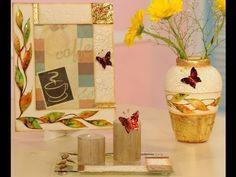 Lacas, craquelado y foil - Marcos para cuadros - Vasijas en ceramica - D... Wine Glass, Glass Vase, Decoupage, Mandala Painting, Stained Glass Art, Craft Videos, Canvas Art, Arts And Crafts, Bottle