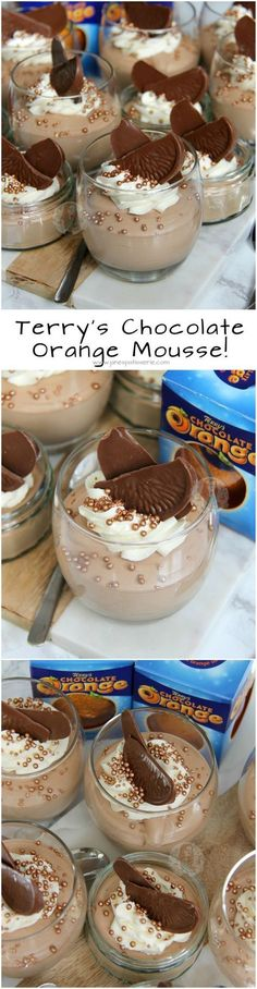 Terry's Chocolate Orange Mousse! ❤️ 3 Ingredient Mousse that makes a Heavenly, Showstopping Dessert! ❤️ 3 Ingredient Mousse that makes a Heavenly, Showstopping Dessert! Menta Chocolate, Terry's Chocolate Orange, Chocolate Desserts, Chocolate Pearls, Chocolate Cupcakes, 13 Desserts, Delicious Desserts, Dessert Recipes, Yummy Food