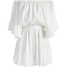 Chicwish Frill Like Dancing Off-shoulder Playsuit in White (420 NOK) ❤ liked on Polyvore featuring jumpsuits, rompers, dresses, playsuit, shorts, white, flounce romper, off the shoulder romper, white off the shoulder romper and playsuit romper