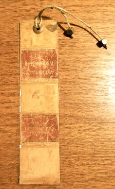 Bookmark made from the book spine of a vintage encyclopedia.
