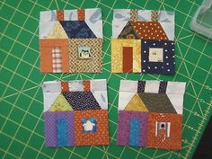 My first 4 little houses for a quilt along; by jeepgirl19700, via Flickr