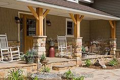 more cedar impressioned siding on the porch. do we want country style log porch? - photo courtesy of Roger Wade Studios