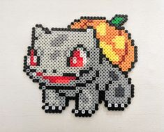 This spooky cabbage boy is 6 by inches and made from durable perler beads. Regular version is available as well. Perler Bead Pokemon Patterns, Pokemon Perler Beads, Perler Bead Templates, Diy Perler Beads, Perler Bead Art, Pearler Beads, Hama Beads Halloween, Pearl Beads Pattern, Pokemon Cross Stitch