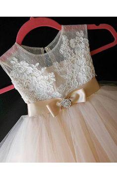 Flor chica vestido Rosse con encaje francés falda