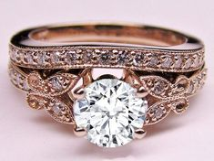 Rose Gold Diamond Butterfly Vintage Engagement Ring & Matching Wedding Band