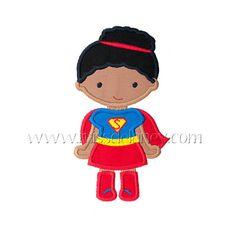 Super Girl Bun Applique Design by MissDelaneyShop on Etsy, $4.00
