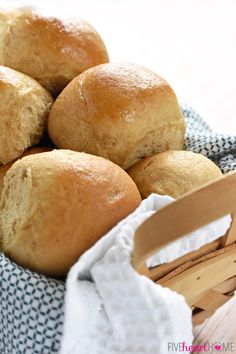 Homemade Whole Wheat Dinner Rolls ~ adapted from our incredibly popular Homemade Whole Wheat Bread recipe, these 100% whole wheat dinner rolls are soft, pillowy, moist, easy to make, and truly the BEST!   FiveHeartHome.com