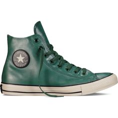 Converse Chuck Taylor All Star Rubber – gloom green Sneakers (€61) ❤ liked on Polyvore featuring shoes, sneakers, gloom green, green high tops, converse footwear, high top sneakers, high top trainers and star shoes