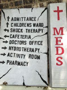 Directory on wall just inside asylum Theme Halloween, Diy Halloween Decorations, Halloween 2019, Holidays Halloween, Halloween Cubicle, Halloween Ideas, Insane Asylum Halloween, Haunted Hospital, Haunted Asylums