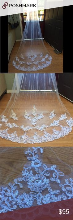 Beautiful cathedral wedding veil Beautiful white cathedral length veil.  108 in, brand new, from a boutique in LA.  Very good quality. Accessories Hair Accessories