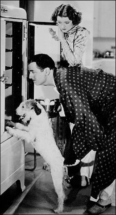 Skippy, William Powell, and Myrna Loy as the Charles' family in the 'Thin Man' series