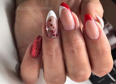⚪️❤️✨👌🏻 Thanks for the like❤️ LISTСТ nails # French manicure nails Gift suggestions: Chr. Xmas Nails, Red Nails, Halloween Nails, Christmas Nails, Short Nails, Long Nails, Cute Nails For Fall, Grunge Nails, Manicure E Pedicure