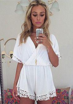White Plain Lace High Waisted Chiffon Short Jumpsuit - Shorts - Bottoms