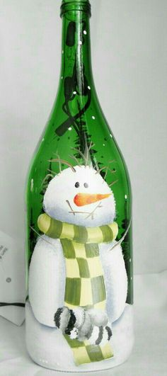 Wine Bottle Light-Snowman with sleeping raccoon-night light lamp-choice frosted or green bottle. Love his mouth. Painted Wine Bottles, Lighted Wine Bottles, Painted Wine Glasses, Bottle Lights, Empty Wine Bottles, Glass Bottles, Wine Bottle Corks, Wine Bottle Crafts, Bottle Bottle