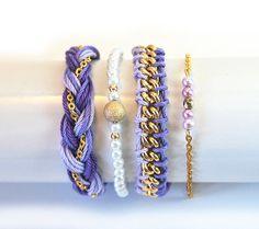 Lavender bracelet stack arm candy set of bracelets by LeiniJewelry, €24.50