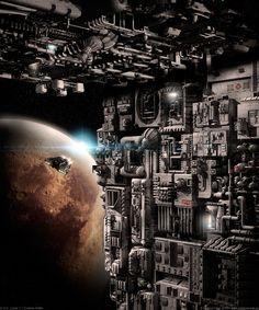 D.S.E. Lunar V   Outside Walls by MarkusVogt.deviantart.com #space #scifi