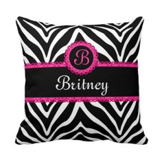 Hip Zebra Print and Lace Monogram Pillows
