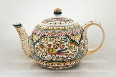 Teapot from Coimbra, Portugal | Hand-painted ceramic pottery | eBay
