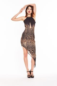 Liquorish Asymmetric Ombre Animal Print Halter Neck Dress With Cut Out Detail Evening Dresses, Formal Dresses, Everyday Dresses, Animal Print Dresses, Halter Neck, Dresses Online, Curvy, Bodycon Dress, Clothes For Women