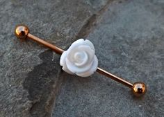 White Rose Gold Industrial Piercing Barbell 14ga Body Jewelry Ear Jewelry 316L Surgical Stainless Steel